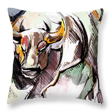 Throw Pillow featuring the painting Stock Market Bull by John Jr Gholson