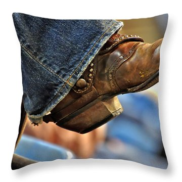 Stock Show Boots I Throw Pillow by Joan Carroll