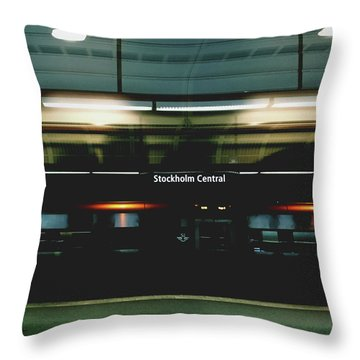 Stockholm Central- Photograph By Linda Woods Throw Pillow