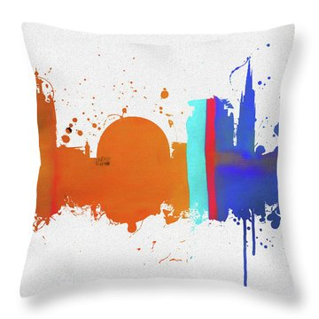 Stockholm Colorful Skyline Throw Pillow