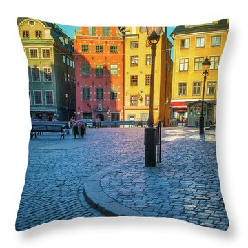 Stockholm Stortorget Square Throw Pillow by Inge Johnsson