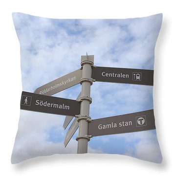 Stockholm Street Signs Throw Pillow