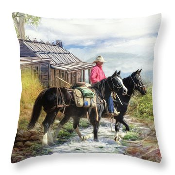 Stockman Of The Snowy Throw Pillow