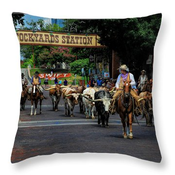Stockyards Cattle Drive Throw Pillow