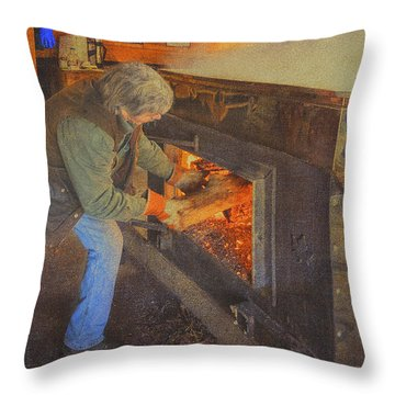 Stoking The Sugarhouse Throw Pillow by Tom Singleton