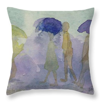 Stomping In The Rain Throw Pillow by Vicki  Housel