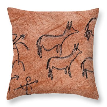 Stone Age Hunt Throw Pillow