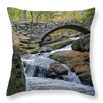 Stone Arch Bridge In Autumn Throw Pillow