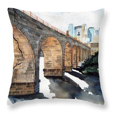 Stone Arch Bridge Watercolor Throw Pillow