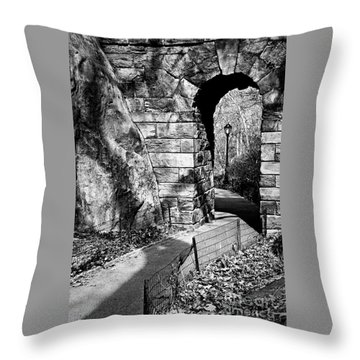 Stone Arch In The Ramble Of Central Park - Bw Throw Pillow