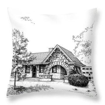 Stone Ave. Train Station Throw Pillow