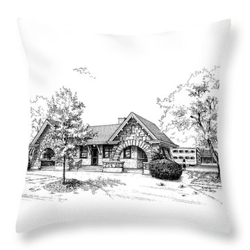 Stone Ave. Train Station Throw Pillow