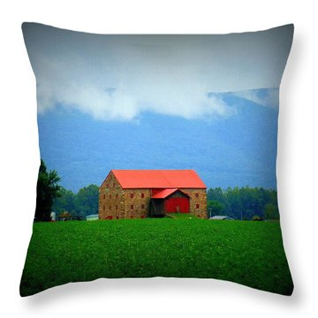 Stone Barn Throw Pillow by Charlotte Gray