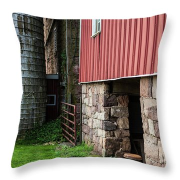 Stone Barn With Milk Can Throw Pillow