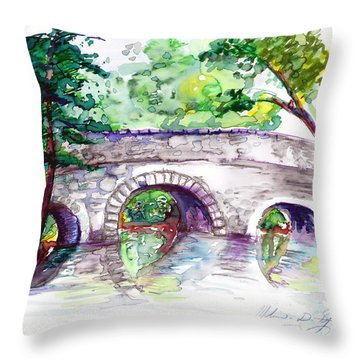 Stone Bridge In Early Autumn Throw Pillow by Melinda Dare Benfield