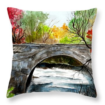Stone Bridge In Maine  Throw Pillow