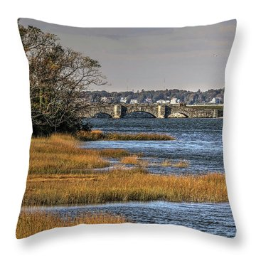Stone Bridge At Mills Gut Colt State Park Throw Pillow