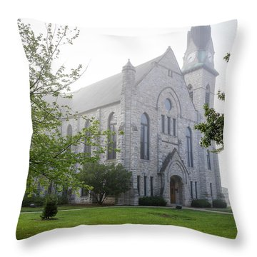 Stone Chapel In Fog Throw Pillow