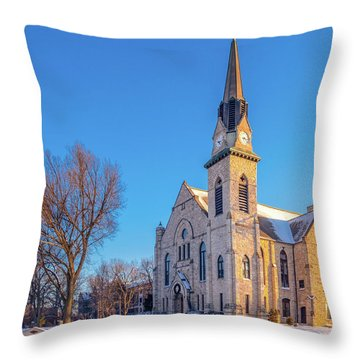 Stone Chapel In Winter Throw Pillow
