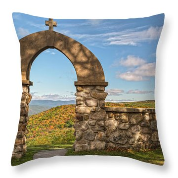 Stone Church In Autumn Throw Pillow