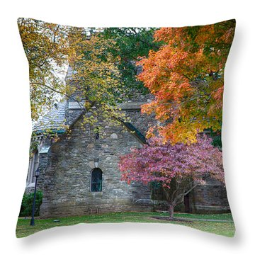 Stone Church In Pomfret Ct In Autumn Throw Pillow