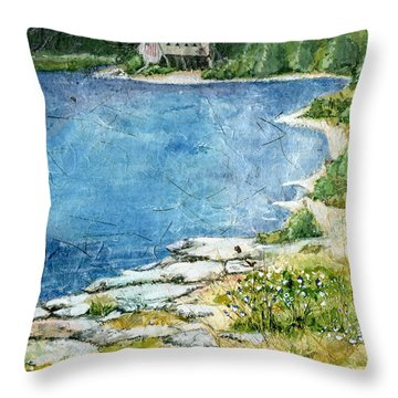 Throw Pillow featuring the painting Stone Church - West Boylston by Lynn Babineau