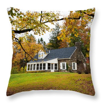 Stone Cottage In The Fall Throw Pillow by Kenneth Cole