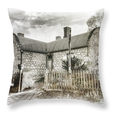 Throw Pillow featuring the photograph Stone Cottage by Wayne Sherriff