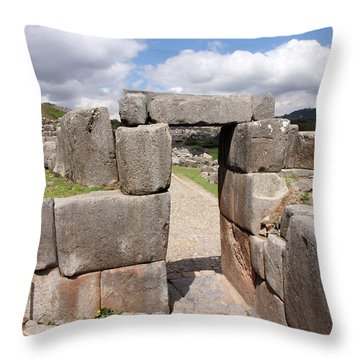 Stone Doorway At Sacsaywaman Throw Pillow by Aidan Moran