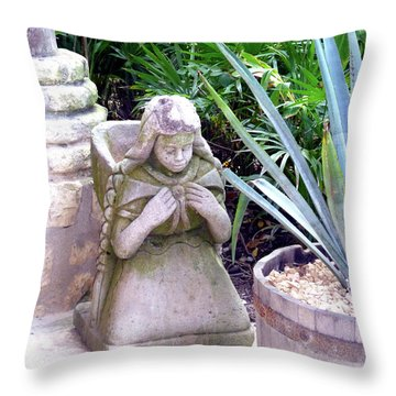 Throw Pillow featuring the photograph Stone Girl With Basket And Plants by Francesca Mackenney