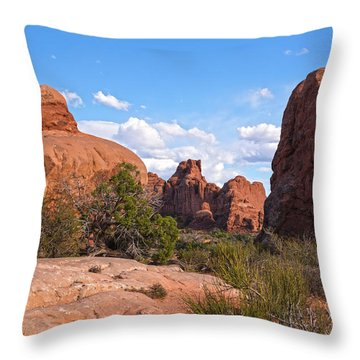 Stone Gods 0f Arches Throw Pillow