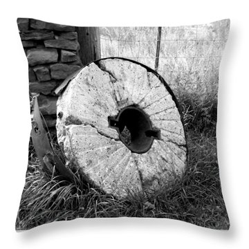 The Old Stone Grinding Wheel Throw Pillow