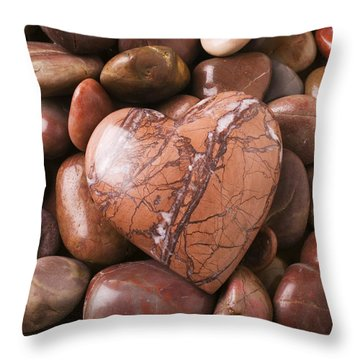 Stone Heart Throw Pillow by Garry Gay