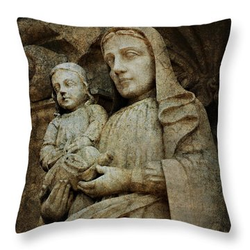 Stone Madonna And Child Throw Pillow