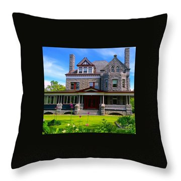 Throw Pillow featuring the photograph Stone Mansion Garden by Becky Lupe