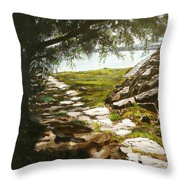 Stone Path To The Ocean Throw Pillow
