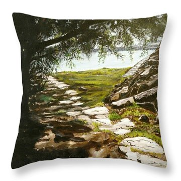 Stone Path To The Ocean Throw Pillow