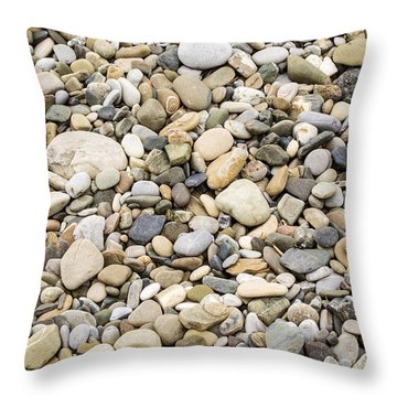 Throw Pillow featuring the photograph Stone Pebbles Patterns by John Williams