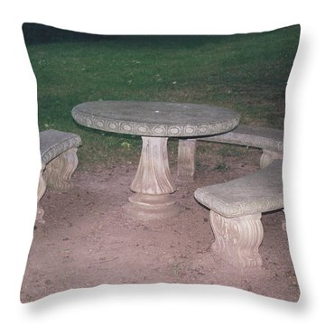 Stone Picnic Table And Benches Throw Pillow