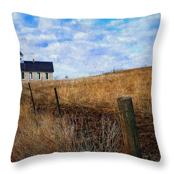 Stone Schoolhouse On The Kansas Prairie Throw Pillow