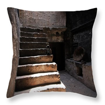 Stone Stairs At Santa Catalina Monastery Throw Pillow