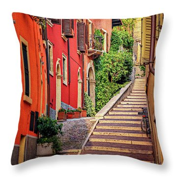 Stone Steps In Verona Italy  Throw Pillow