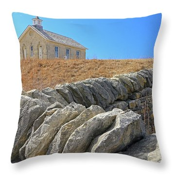Stone Wall Education Throw Pillow by Christopher McKenzie