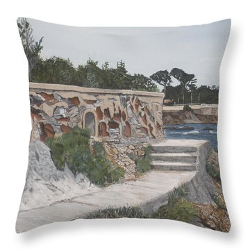 Throw Pillow featuring the painting Stone Wall France by Betty-Anne McDonald