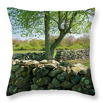 Stone Wall In Rhode Island Throw Pillow