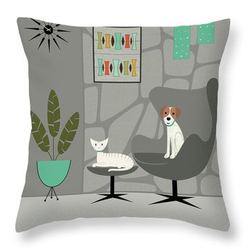 Stone Wall With Dog And Cat Throw Pillow