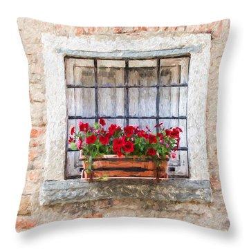 Stone Window Of Cortona II Throw Pillow