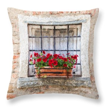 Stone Window Of Cortona II Throw Pillow