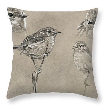 Stonechat Throw Pillow