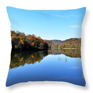 Stonecoal Lake In Autumn Color Throw Pillow by Thomas R Fletcher